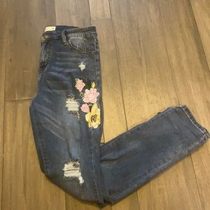 Angel Kiss Floral Embellished Jeans Size 9